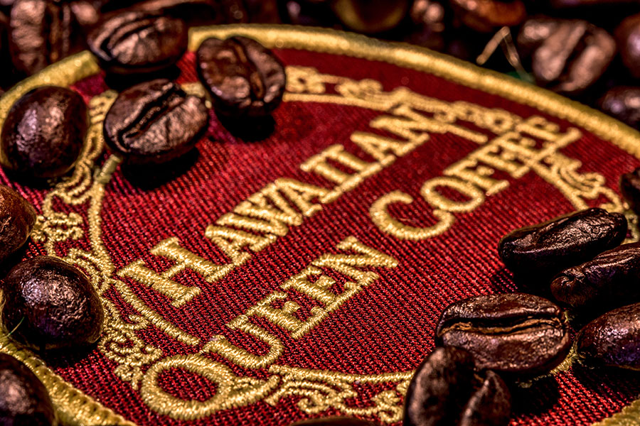 Coffee beans roasted with patch